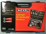 Coffret de douilles 1/4''-1/2'' 94 pièces HEXEL F94