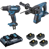 Ensemble de 2 machines  perfo-burineur 2x18V et  perceuse visseuse 18V MAKITA (DDF482 + DHR264) + Batterie